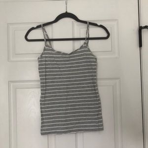 Gray and white striped cami